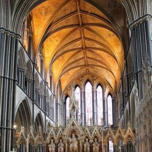 Worcester, UK - August 03: Altar and chancel of medieval Worcester Cathedral, on 3 August 2014, in Worcester, UK