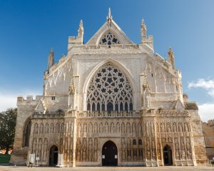 The grand Gothic style Cathedral at Exeter Devon England UK